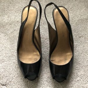 Marc Fisher Slingback Peep-toe Black Heels Size 9